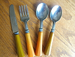 Click here to enlarge image and see more about item bakelite112006: Vintage Bakelite Children's Utensils