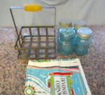 Click to view larger image of Four Vintage Ball Jars & Metal Rack (Image3)