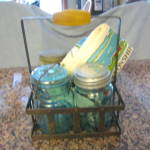 Click to view larger image of Four Vintage Ball Jars & Metal Rack (Image4)
