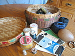 Click here to enlarge image and see more about item basket103106: Vintage Native American Sewing Basket