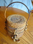 Click here to enlarge image and see more about item basket40721: Vintage Coiled Fibre Basket