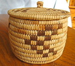 Click here to enlarge image and see more about item basket40892: Vintage Papago Lidded Basket