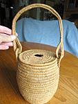 Click here to enlarge image and see more about item basket91006: Vintage Coiled Fibre Basket - Apache?