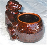 Click here to enlarge image and see more about item bear120211: Vintage Brown Bear Planter