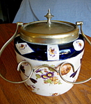 Click here to enlarge image and see more about item biscuit82008a: Antique Earthenware Biscuit Jar