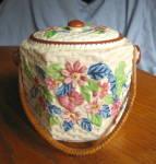 Click here to enlarge image and see more about item biscuitjar060710: Japanese Tea Biscuit Jar Vintage