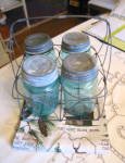 Click here to enlarge image and see more about item bmjarbasket1014: Ball Mason Jars w/Wire Basket