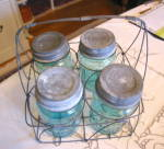 Click to view larger image of Ball Mason Jars w/Wire Basket (Image2)