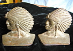 Click here to enlarge image and see more about item bookends120603: Native American Iron Chief Bookends