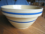 Click here to enlarge image and see more about item bowl10859: Blue Band Yellow Ware Bowl