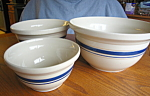 Click here to enlarge image and see more about item bowls10721: Friendship Pottery Mixing Bowl Set