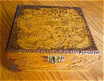 Click here to enlarge image and see more about item box80522: Antique Flemish Art Pyrography Box