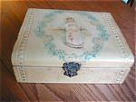 Click here to enlarge image and see more about item box90520: Antique Celluloid Box and Hanky