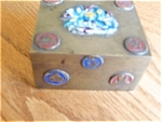 Enameled Antique Brass Box