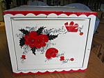 Click here to enlarge image and see more about item breadbox1107: Vintage Red Poppies Breadbox