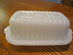 Click here to enlarge image and see more about item butter101306: Child's Milk Glass Butter Dish
