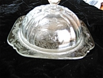 Click here to enlarge image and see more about item butter30514: Madrid Depression Glass Butter Dish