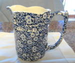 Click here to enlarge image and see more about item calico1013: Vintage Staffordshire Calico Pitcher