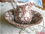 Click here to enlarge image and see more about item calico10505: Staffordshire Calico Pitcher and Bowl