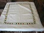 Click here to enlarge image and see more about item card30703: Linen Vintage Card Tablecloth