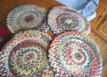 Click here to enlarge image and see more about item chenille120808: Four Vintage Chenille Chair Pads