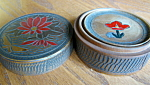 Click here to enlarge image and see more about item coasters1007: Vintage Japan Wooden Coasters