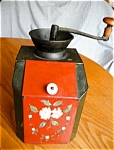 Click here to enlarge image and see more about item coffeemill60528: Antique Painted Combination Coffee Mill and Bin