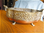 Click here to enlarge image and see more about item copper50413: Vintage Copper Footed Vase