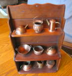 Click here to enlarge image and see more about item copperminis1214: Copper Miniature Pots w/Rack Vintage