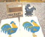 Click here to enlarge image and see more about item countrykitchen8013: Country Rooster Kitchen Collectibles