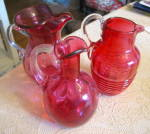 Click to view larger image of Cranberry Glass Pitcher Vintage (Image8)