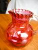 Click to view larger image of Victorian Cranberry Glass Pitcher (Image2)