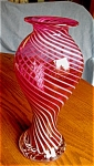 Click here to enlarge image and see more about item cranberry30609: Vintage Hand Blown Cranberry Opalescent Swirl Vase