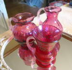 Click here to enlarge image and see more about item cranberryassortment0915: Cranberry Glass Trio