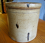Click here to enlarge image and see more about item crock80610: Large Saltglaze Antique Crock