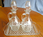 Click here to enlarge image and see more about item cruets10725: Cruet Bottles and Tray