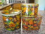 Click here to enlarge image and see more about item dahertins040612: Vintage Kitchen Tins Daher