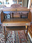 Click here to enlarge image and see more about item desk30703a: Vintage Child's Roll Top Oak Desk
