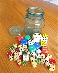 Click here to enlarge image and see more about item dice40620: Vintage Jar and Dice