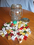 Click here to enlarge image and see more about item dice907: Vintage Jar and Dice
