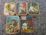 Click here to enlarge image and see more about item dogtins100211: Vintage Toffee Tins w/Dogs