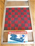 Click here to enlarge image and see more about item dom30424a: Vintage Halsam Dominoes and Checkerboard