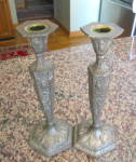 Click here to enlarge image and see more about item dutchsilver060810: Vintage Dutch Silver Candlesticks