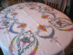 Click here to enlarge image and see more about item embrlinen3014: Vintage Embroidered Tablecloth w/Napkins