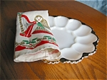 Click here to enlarge image and see more about item firek12032: Fire King Deviled Egg Dish and Holiday Linen