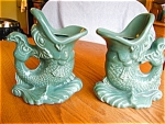 Click here to enlarge image and see more about item fish50513: Vintage Pottery Fish Vases