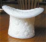 Click here to enlarge image and see more about item ghat08082: Milk Glass Hat Toothpick
