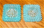 Click here to enlarge image and see more about item ghob06061: Two Vintage Hobnail Aqua Salt Dips