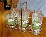 Click here to enlarge image and see more about item glasses40622: Vintage Jelly Glasses and Carrier