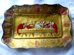 Click here to enlarge image and see more about item goofusglass1214: Antique Goofus Glass Last Supper Tray